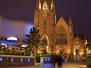 Bull Ring, Birmingham - St Martin's Church, with Selfridges in the background