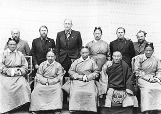 Tsarong - Tsarong (front left) pictured with other Tibetan officials and the German expedition to Tibet in 1938.