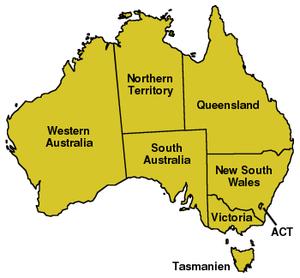 Karte Australiens, Bundesstaaten eingezeichnet