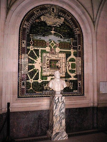 File:Buste de Carnegie et plan originel du Palais de la Paix.jpg