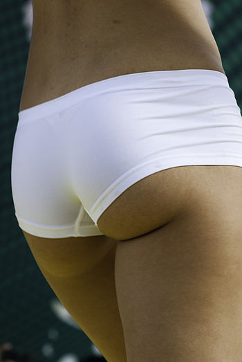English: Buttocks of a Model during a fashion ...