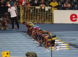 2016 IAAF World U20 Championships – Men's 100 metres - The finalists set in the blocks