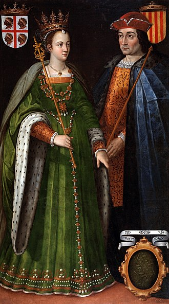 Crown of Aragon - 16th-century painting by Filippo Ariosto depicting Petronilla and Berenguer IV (dinastic union of the Crown of Aragon in 1137).