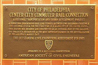 Center City Commuter Connection - The ASCE plaque in Jefferson Station