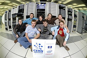 CERN openlab - CERN openlab fellows and staff at the computer centre.