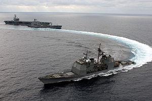 USS Lake Champlain (CG-57) - Image: CG 57 emergency breakaway