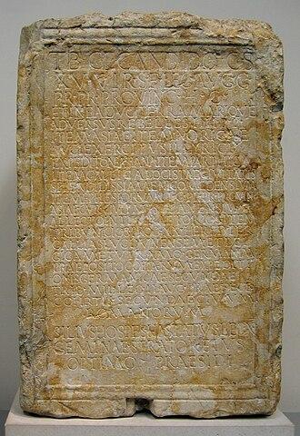 Tarragona - Inscribed marble base of the Roman Consul Tiberius Claudius Candidus, unearthed in Tarragona and now in the British Museum, 195-199 AD.