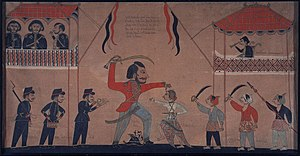 Javanese people - Sultan Amangkurat II of Mataram (upper right) watching warlord Untung Surapati fighting Captain Tack of the Dutch East India Company (VOC). ca 1684 AD.