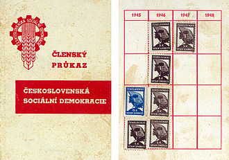 Czech Social Democratic Party - CSSD Membership card, 1945