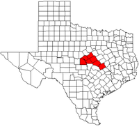 Map of Texas highlighting counties served by the Central Texas Council of Governments.
