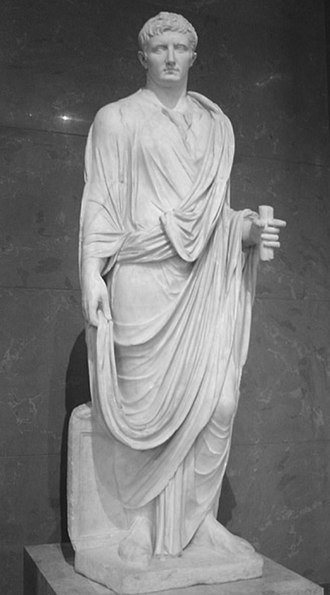 Roman emperor - Statue of Augustus, c. 30 BC–20 BC; this statue is located in the Louvre
