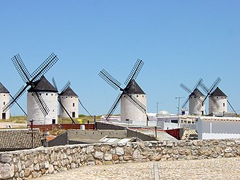 View of a group of windmills at Campo de Criptana in La Mancha