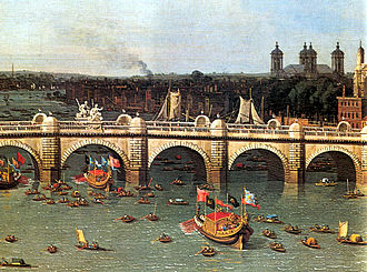 Water Music - Westminster Bridge on Lord Mayor's Day by Canaletto, 1746 (detail)
