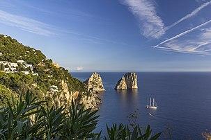 Capri Faraglioni with boat