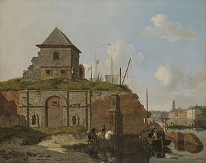 Gijsbertus Craeyvanger - With Carel Jacobus Behr, city wall with gunpowder warehouse.