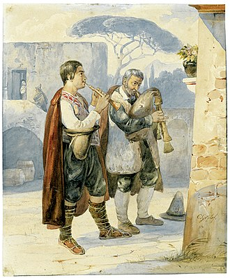 Carl Götzloff - Two Pipers (1828) Watercolor on vellum