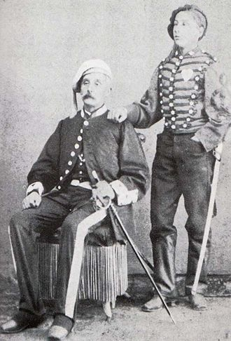 Carlism - Two typical Carlist co-religionists of the 19th century Francisco Solà i Madriguera, of Taradell (Osona), with his son, around 1870.