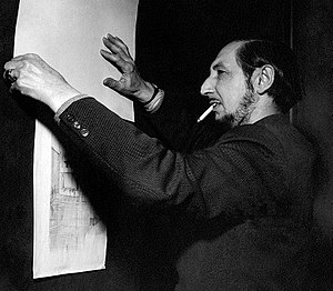 Carlo Scarpa - Carlo Scarpa, an admirer of Frank Lloyd Wright, is studying his drawings in Venice, 1954