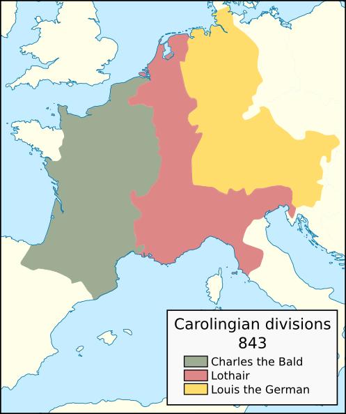 Carolingian territorial divisions, 843