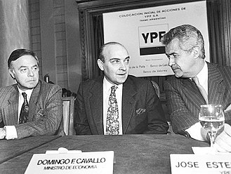Cavallo began the privatization of YPF. Cavallo y Estenssoro.jpg