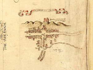 Cavan - Map of Cavan town from 1591 showing its market square and the O'Reilly castle on Tullymongan Hill