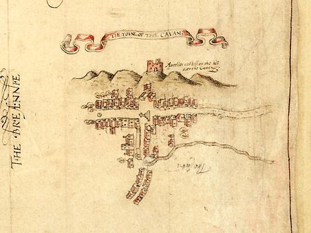 Map of Cavan town from 1591 showing its market square and the O'Reilly castle on Tullymongan Hill Cavan Towne Map 1591.jpg