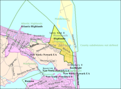Census Bureau map of Highlands, New Jersey