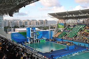 Diving at the 2016 Summer Olympics - The Maria Lenk Aquatic Center's diving pool, during the 2016 Summer Olympics.