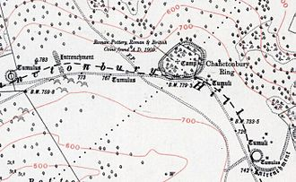 Chanctonbury Ring - Map of Chanctonbury Ring and neighbouring archaeological features