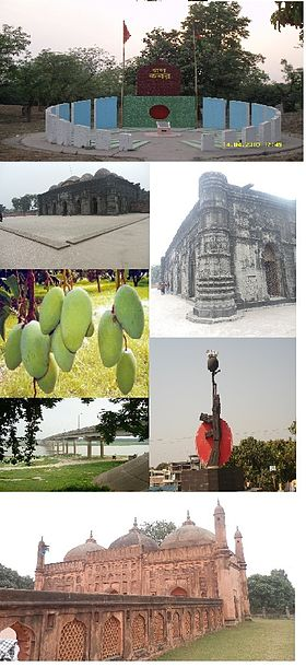 Chapainawabganj Landmarks (Clockwise from top): Gono kabar (mass grave), Sona Mosque (side view), Liberation War Statue, Tohakhana Mosque, Captain Jahangir bridge, mangoes, Sona Mosque
