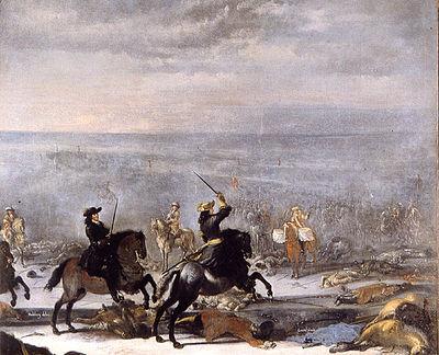 Målning som visar Karl XI vid slaget vid Lund