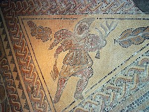 Chedworth Roman Villa - Detail of the Triclinium mosaic showing the spirit of winter