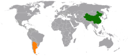 Map indicating locations of China and Argentina