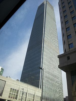 The China World Trade Center - China World Trade Building viewed from Silk Market carpark
