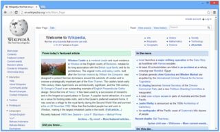 Web browser Software for using the World Wide Web