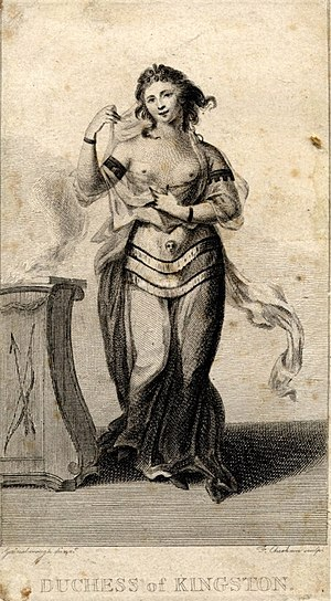 Elizabeth Pierrepont, Duchess of Kingston-upon-Hull - Elizabeth Chudleigh at a 1749 masked ball