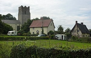Cretingham - Image: Church and cottages geograph.org.uk 1424796