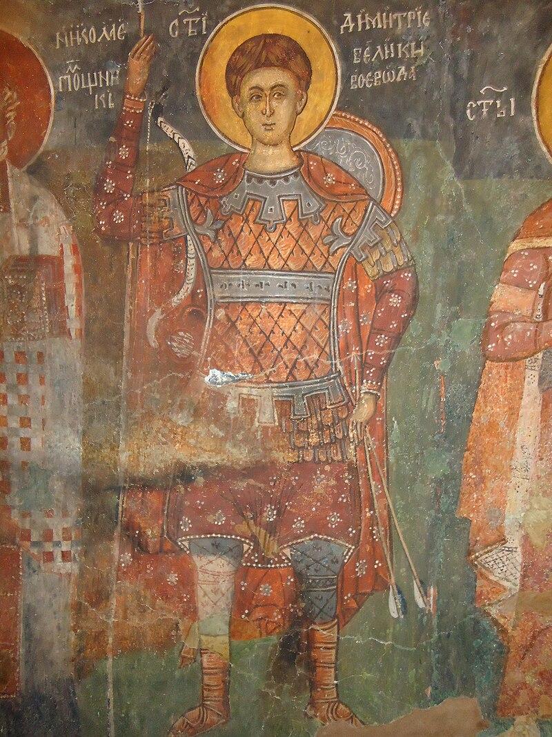 """Свети Димитър, стенопис от църквата """"Свети Димитър"""" в Бобошево"""