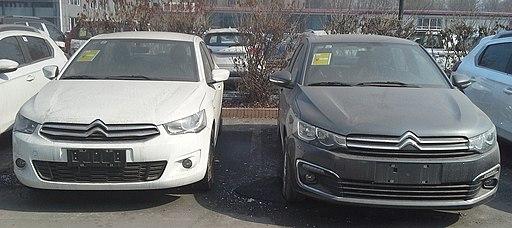 Citroën C-Elysée II (left) & Citroën C-Elysée II facelift China 2017-03-25