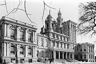 New York City Hall - City Hall, from the Historic American Buildings Survey, with the Manhattan Municipal Building in the background on the right