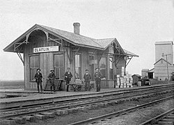 Former Missouri Pacific Railroad depot in Claflin, 1900
