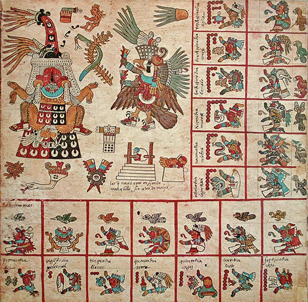 The original page 13 of the Codex Borbonicus, showing the 13th trecena of the Aztec sacred calendar. This 13th trecena was under the auspices of the goddess Tlazolteotl, who is shown on the upper left wearing a flayed skin, giving birth to Cinteotl. The 13 day-signs of this trecena, starting with 1 Earthquake, 2 Flint/Knife, 3 Rain, etc., are shown on the bottom row and the left column. Codex Borbonicus, p11 trecena13.PNG