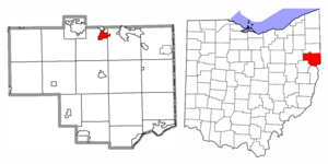 Location of Leetonia in Columbiana County and in the State of Ohio
