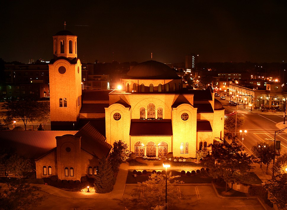 Columbus-ohio-greek-orthodox-church-night