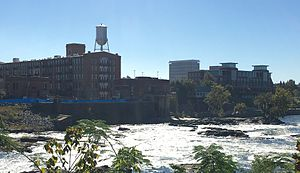 Downtown Columbus skyline on the banks o the Chattahoochee River