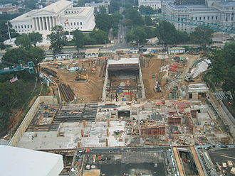 Construction of the CVC in July 2004 Construction of U.S. Capitol Visitor Center, July 2004.jpg