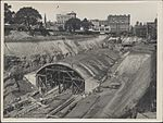 Construction of train tunnel for underground railway, 1923 (8282716095).jpg