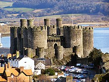 Conwy Castle and car park from Town Walls - geograph.org.uk - 1723358.jpg