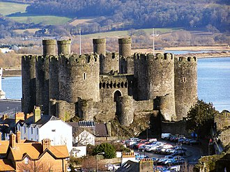 Conwy Castle - Conwy Castle seen from the west, showing the barbican guarding the Outer Ward