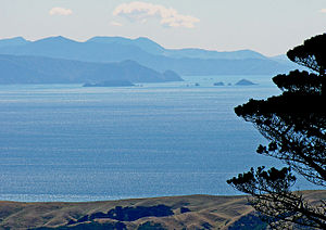 Cook Strait - A view from the summit of Mount Kaukau across Cook Strait to the Marlborough Sounds in the distance.